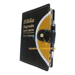 Bíblia Sagrada Letra Gigante Harpa Botão Caneta Preta
