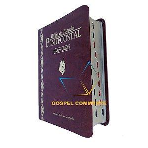 Bíblia de Estudo Pentecostal Pequena Com Harpa Vinho