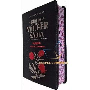 Bíblia De Estudo Da Mulher Sábia Rc Com Harpa Tulipa/Preta