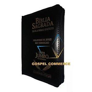 Bíblia Sagrada Com Zíper Letra Jumbo Preta Com Harpa e Corinhos - Cpp