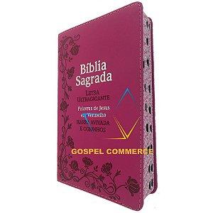 Bíblia Sagrada Média Letra Ultragigante Pink Palavras de Jesus Em Vermelho - Cpp