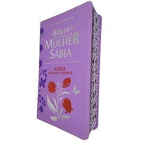 Bíblia De Estudo Da Mulher Sábia Letra Grande e Harpa - Lilás