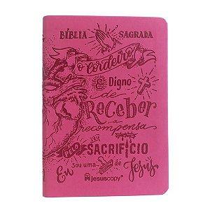 Bíblia Sagrada Lettering Luxo Rosa NAA - JesusCopy