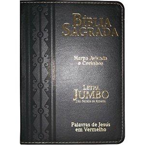 Bíblia Sagrada Grande Promessas Letra Jumbo Preta Com Harpa