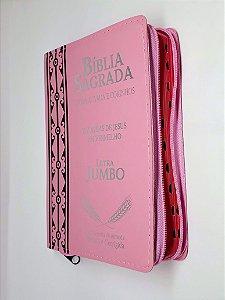 Bíblia Sagrada Letra Jumbo Zíper Capa Couro Rosa - CPP