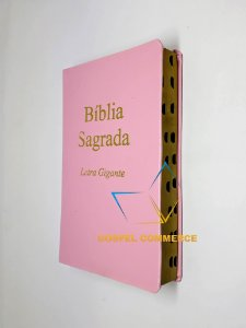 Bíblia Sagrada Letra Gigante ROSA SEM Harpa