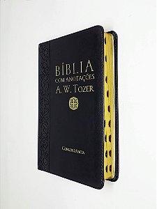 Bíblia Com Anotações A. W. Tozer Media Preta Índice - Cpad