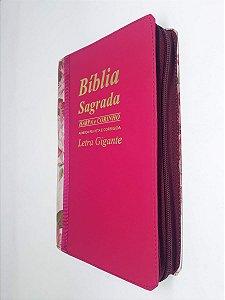 Bíblia Sagrada Letra Gigante Pink Com Harpa Bicolor Zíper