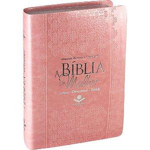 A Bíblia da Mulher Rosa Com Índice RC Média 14x21cm - Sbb