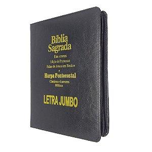 Bíblia Sagrada Letra Jumbo Promessas Preta Zíper - Kc