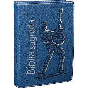 Bíblia Sagrada Edição com Notas para Jovens Azul com prata