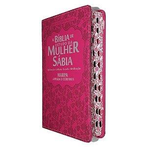 A Bíblia De Estudo Da Mulher Sábia Letra Grande Dalia Pink Harpa