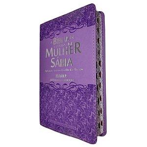 Bíblia De Estudo Da Mulher Sábia Letra Grande e Harpa Ramalhete Lilás
