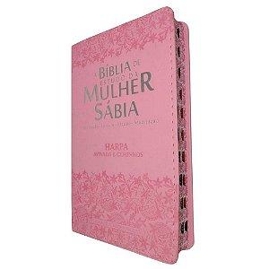 Biblia de Estudo da Mulher Sábia Letra Grande - Rosa/Renda