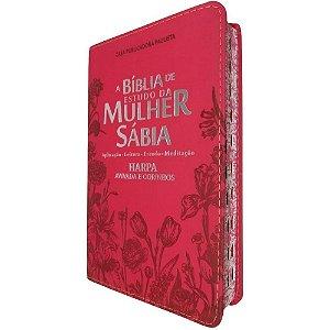 Bíblia De Estudo Da Mulher Sábia Rc Com Harpa Flores Vermelha