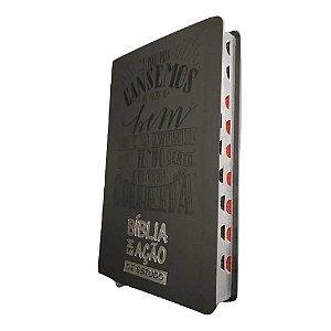 Bíblia Em Ação De Estudo - Capa Luxo Cinza- Mensagem