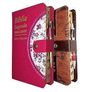 Kit 2 Bíblia Sagrada Letra Gigante 1 Pink + 1 Marrom Folhas