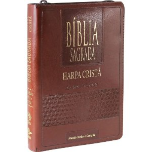 Bíblia Sagrada Letra Grande com Harpa Cristã Marrom Zíper