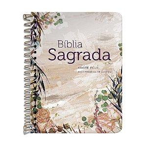 Bíblia Anote Espiral ARC - Flor Marmorizada