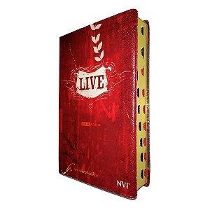 Bíblia de Estudo Live - Capa Luxo Vermelha - Geográfica