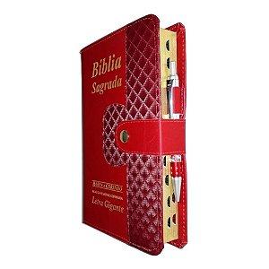 Bíblia Sagrada Botão e Caneta - Vinho - Letra Gigante Harpa