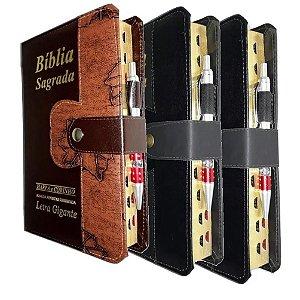 Kit 3 Bíblia Sagrada Letra Gigante 2 Preta + 1 Marrom