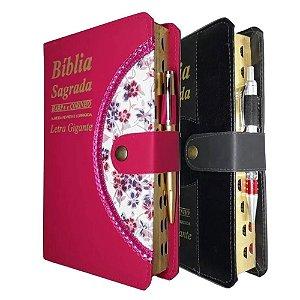 Kit 2 Bíblia Sagrada Letra Gigante 1 Preta + 1 Pink
