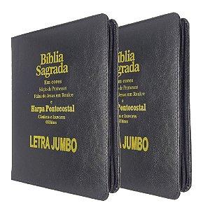 Kit 2 Bíblia Sagrada Letra Jumbo Promessas Preta Zíper - Kc