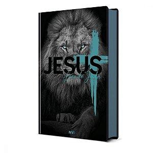 Bíblia Sagrada Leão de Judá Lateral Azul NVI - Pão Diário
