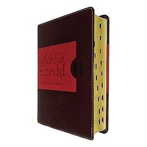 Bíblia de Estudo Shedd RA - Capa Café e Vermelho - Vida Nova