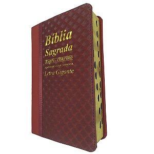 Bíblia Sagrada Letra Gigante Com Harpa Bicolor Vinho - Cpp