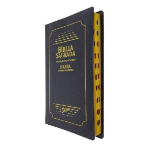 Bíblia Sagrada Slim Capa Coverbook Preta Com Harpa - CPP
