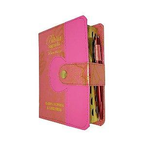 Bíblia Tijolinho Com Harpa Botão e Caneta - Pink Folhas