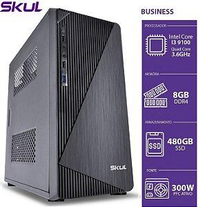 COMPUTADOR BUSINESS SKUL B300 CORE I3-9100 3.6GHZ MEM 8GB DDR4 SSD 480GB S/ SISTEMA