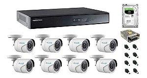 KIT CFTV HIKVISION 8 CANAIS 4 BULLET 720P E 4 DOME 1080P DVR HIKVISION HD 1TB E ACESSORIOS