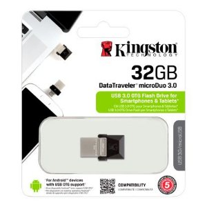 PENDRIVE P/ SMARTPHONE KINGSTON OTG 32GB MICRO DUO USB  3.0
