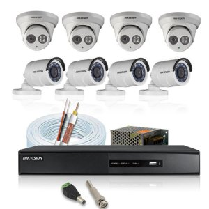 KIT CFTV HIKVISION 8 CANAIS BULLET&DOME 720P DVR HIKVISION HD SEAGATE 1TB ACESSORIOS
