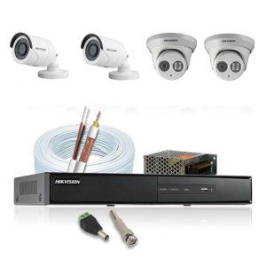 KIT CFTV HIKVISION 4 CANAIS BULLET&DOME 720P DVR HIKVISION HD SEAGATE 1TB ACESSORIOS