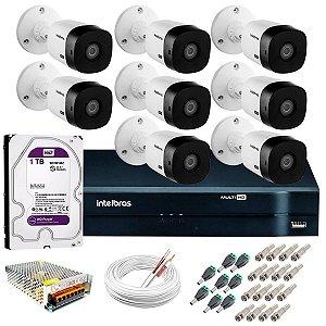 KIT CFTV INTELBRAS 8 CANAIS BULLET&DOME 720P DVR INTELBRAS HD SEAGATE 1TB ACESSORIOS