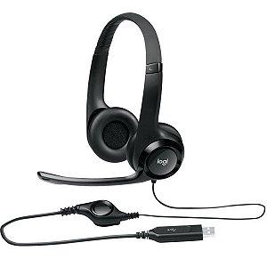 FONE DE OUVIDO HEADSET LOGITECH H390 COM MICROFONE USB  981-000014 PRETO