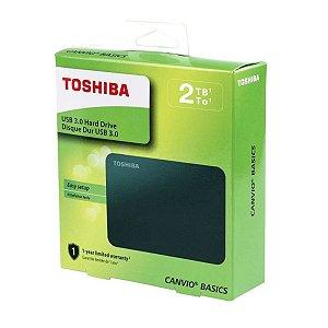 HD EXTERNO TOSHIBA PORTATIL CANVIO BASICS USB 3.0 2TB PRETO HDTB420XK3AA