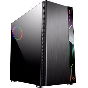GABINETE C3TECH MID TOWER GAME MT-G400BK LED LATERAL EM ACRILICO SEM FONTE PRETO