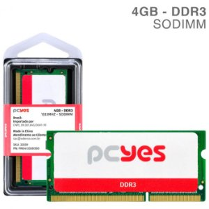 MEMORIA PCYES P/ NOTEBOOK 4GB DDR3 1333MHz PM041333D3SO