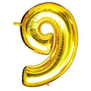 Balão Dourado N9 - 75 cm - Br festas