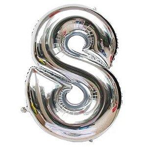 Balão prata N8 - 75 cm - Br festas