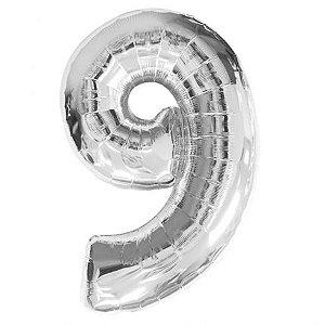 Balão prata N9 - 75 cm - Br festas