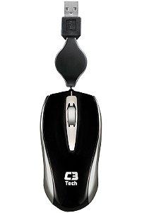 Mini Mouse C3 Tech Óptico Retrátil USB MS3209-2 BSI Preto/Prata
