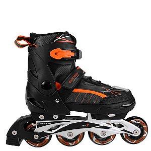 3f8127fe15c14 Patins Gonew Flexx 2.0 In line - Fitness - ABEC 7 Ajustável - preto e  laranja