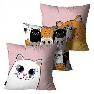 Kit com 3 Almofadas Gato Colorido - com enchimento