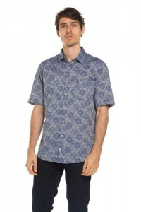Camisa manga curta Hawaii Geometric - Ultramarine